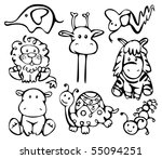 silhouettes of animals. | Shutterstock .eps vector #55094251