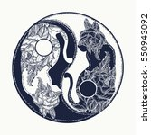 cats yin and yang tattoo. boho... | Shutterstock .eps vector #550943092