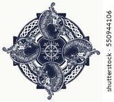 celtic cross tattoo art and t... | Shutterstock .eps vector #550944106
