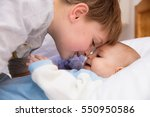six year old toddler sharing... | Shutterstock . vector #550950586