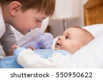 six year old toddler sharing... | Shutterstock . vector #550950622