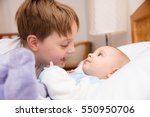 six year old toddler sharing... | Shutterstock . vector #550950706