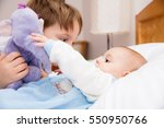 six year old toddler sharing... | Shutterstock . vector #550950766
