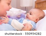 six year old toddler sharing... | Shutterstock . vector #550954282