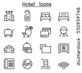 hotel icon set in thin line... | Shutterstock .eps vector #550959748