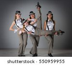 girls dressed in costumes on a...   Shutterstock . vector #550959955