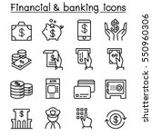 Financial & banking icon set in thin line style | Shutterstock vector #550960306