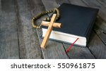 wooden crucifix  holy bible and ... | Shutterstock . vector #550961875