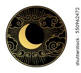 crescent moon in the cloudy sky.... | Shutterstock .eps vector #550962472