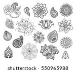 henna doodle vector elements....   Shutterstock .eps vector #550965988