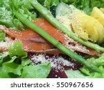 salmon salad | Shutterstock . vector #550967656