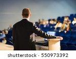 speaker giving a talk on... | Shutterstock . vector #550973392