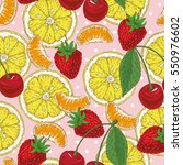 seamless pattern with lemons... | Shutterstock .eps vector #550976602