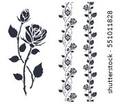rose tattoo art. black... | Shutterstock .eps vector #551011828