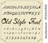 hand drawn font. old style... | Shutterstock .eps vector #551012902
