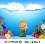 cartoon mermaid with beautiful... | Shutterstock .eps vector #551013616