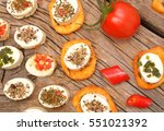 feta cheese appetizer with... | Shutterstock . vector #551021392