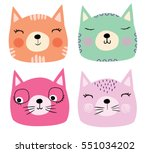 Stock vector cute cats 551034202