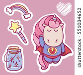 cute cartoon  unicorn set with... | Shutterstock .eps vector #551034652