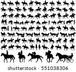 Stock vector people riding horses silhouettes collection vector illustration 551038306
