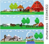 set of horse riding  taming... | Shutterstock . vector #551044522
