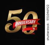50 years anniversary golden... | Shutterstock .eps vector #551046922