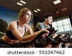attractive woman and man biking ... | Shutterstock . vector #551047462