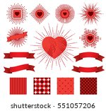set of sunburst  hearts ... | Shutterstock .eps vector #551057206