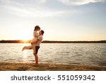 sea travel  happy couple... | Shutterstock . vector #551059342
