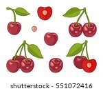 bunches of juicy cherries ... | Shutterstock .eps vector #551072416