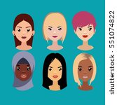 vector colorful avatar set of... | Shutterstock .eps vector #551074822