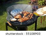 grilling meat at summer weekend | Shutterstock . vector #55108903