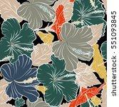seamless pattern on black... | Shutterstock .eps vector #551093845