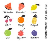 doodle fruit on white... | Shutterstock .eps vector #551103412