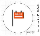 hanging sold sign icon | Shutterstock .eps vector #551106406