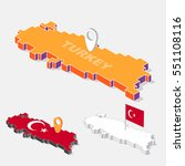 turkey flag on map element and... | Shutterstock .eps vector #551108116