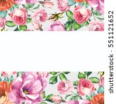 floral border with pink roses | Shutterstock . vector #551121652