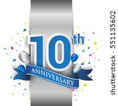 10th anniversary logo with... | Shutterstock .eps vector #551135602