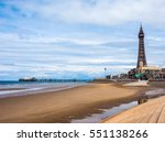 the blackpool tower on the... | Shutterstock . vector #551138266