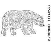 vector zentangle polar bear... | Shutterstock .eps vector #551139238