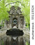 Small photo of the Medici Fountain La fontaine Medicis in Luxembourg Gardens Paris France with sculptures of the giant Polyphemus surprising the lovers Acis and Galatea