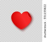 paper sticker in heart shape... | Shutterstock .eps vector #551155822