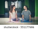 smiling young man and woman... | Shutterstock . vector #551177686