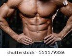 handsome fitness model train in ... | Shutterstock . vector #551179336