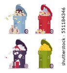 set of trash bins  cans for... | Shutterstock .eps vector #551184346