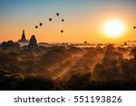 bagan sunrise in background... | Shutterstock . vector #551193826