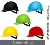 Safety set helmets. Vector illustration - stock vector