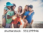 multicultural group of friends... | Shutterstock . vector #551199946