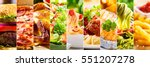 collage of various food... | Shutterstock . vector #551207278