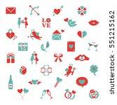 valentine icon set | Shutterstock .eps vector #551215162